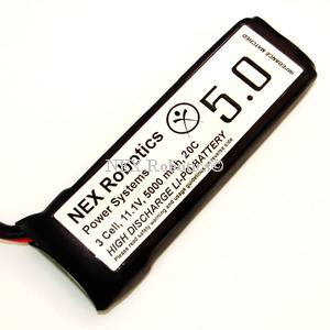 Lithium Polymer 3 Cell, 11.1V, 5000mAh, 20C discharge Battery